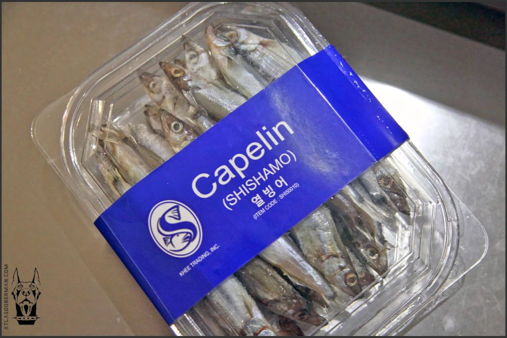 Raw dog food ingredient, capelins.